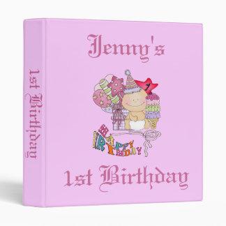 Wonky Happy Birthday Girl 1 Year Old 3 Ring Binder