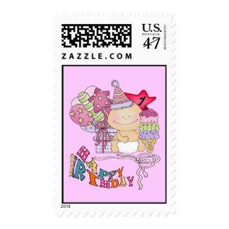 Wonky Happy Birthday Girl 1 Year Old Postage