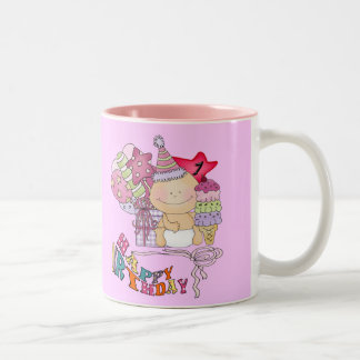 Wonky Happy Birthday Girl 1 Year Old Two-Tone Coffee Mug