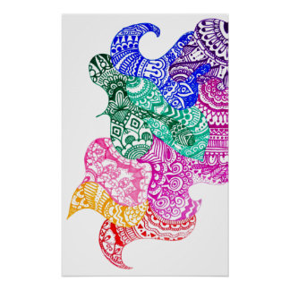 Wonky Rainbow Doodle Poster