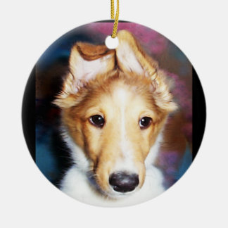 Wonky Reception Sheltie Puppy Ornament Round