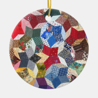 Wonky Star Quilt Double-Sided Ceramic Round Christmas Ornament