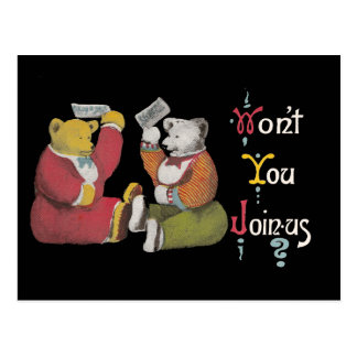 Won't You Join Us? Teddy Bears Postcard