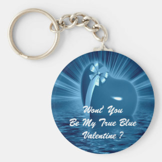 WON'T YOU PLEASE BE MY TRUE BLUE VALENTINE ? KEYCHAIN