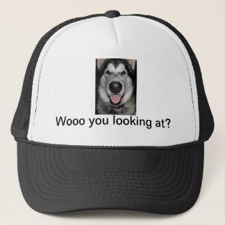 Woo you looking at. Alaskan malamute Trucker Hat
