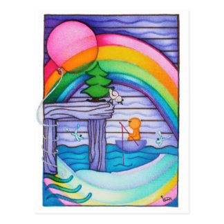 Woobies Rainbow Postcard
