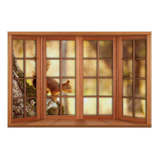 Wood 4 Pane Window Illusion - Squirrel Poster