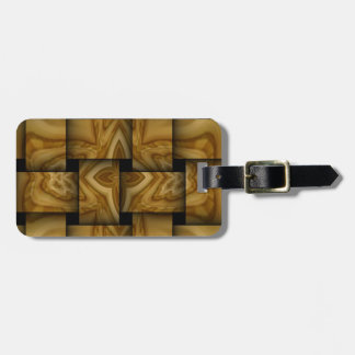 Wood abstract weave pattern luggage tag