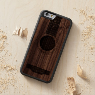 Wood Acoustic Guitar Strings and Sound Hole Carved® Walnut iPhone 6 Bumper
