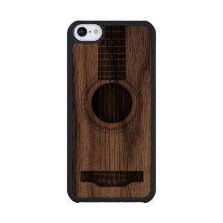 Wood Acoustic Guitar Strings and Sound Hole Carved® Walnut iPhone 5C Case