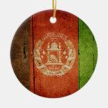 Wood Afghanistan Flag; Afghan Christmas Ornaments