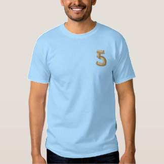 Wood Alphabet 5 Embroidered T-Shirt