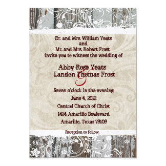 Wood and Beige Parchment Swirl Wedding Invitations