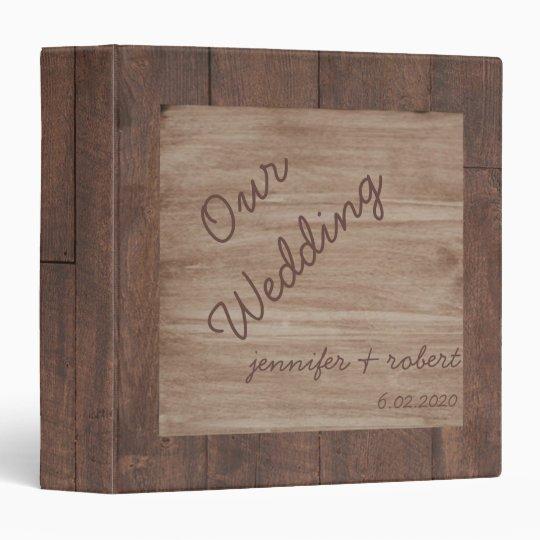 Wooden Wedding Album: Wood And Birch Country Wedding Album 3 Ring Binder