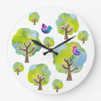 < Wood and bird (water color) circle > Trees and Large Clock