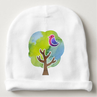 < Wood and bird (water color) > Trees and Birds Baby Beanie