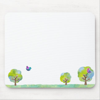 < Wood and bird (water color) > Trees and Birds Mouse Pad