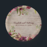 "Wood and Burgundy Flowers Rustic Wedding Paper Plate<br><div class=""desc"">Burgundy Flowers Rustic Wedding Paper Plates</div>"