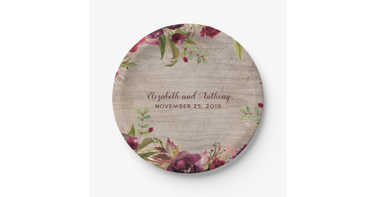 Wood and Burgundy Flowers Rustic Wedding Paper Plate | Zazzle.com