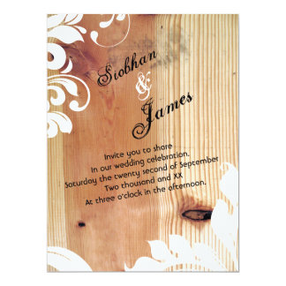 Wood And Fancy Floral Wedding (printed) 6.5x8.75 Paper Invitation Card