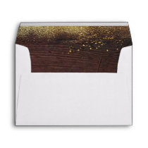Wood and Gold Glitter Envelope