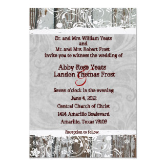 Wood and Gray Parchment Swirl Wedding Invitations