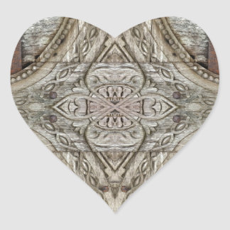 Wood and Iron Ornament Artwork Heart Stickers