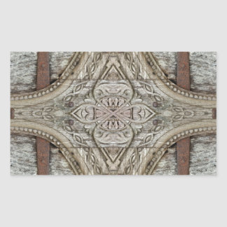 Wood and Iron Ornament Artwork Rectangle Stickers