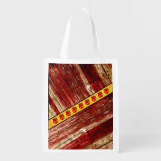 Wood and jewels reusable grocery bag