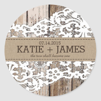 Wood and Lace Rustic Country Wedding Label Classic Round Sticker