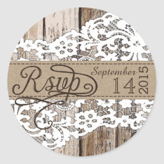 Wood and Lace Rustic RSVP Label Classic Round Sticker