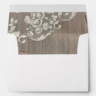 Rustic Vintage Wood and Lace Wedding Invitation Envelopes
