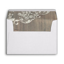 Wood and Lace Rustic Vintage Wedding Envelope