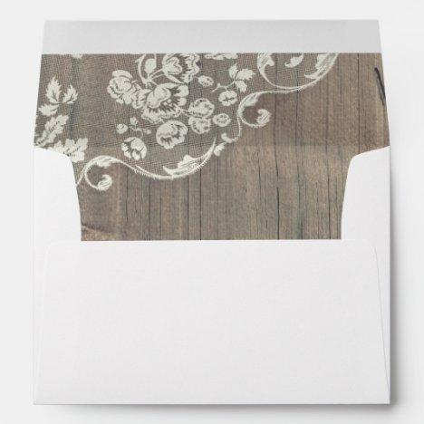 Wood and Lace Rustic Vintage Wedding Envelope