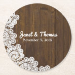"Wood and Lace Wedding Paper Coasters<br><div class=""desc"">Rustic chic wedding pulp board paper coasters done in a brown wood look,  with graphics of white lace,  on the left side.  Personalize the white text to suit your needs.  Great for any wedding event and makes nice little favors for your guests.</div>"