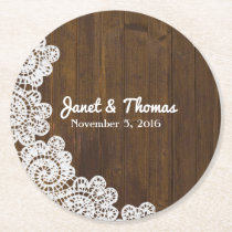 Wood and Lace Wedding Paper Coasters