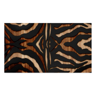 Wood and Leather Zebra Print Business Card