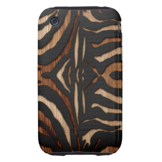 Wood and Leather Zebra Print iPhone 3 Tough Cases