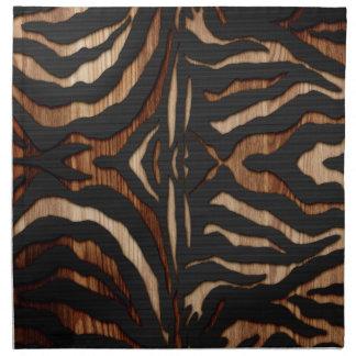 Wood and Leather Zebra Print Cloth Napkin