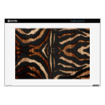 """Wood and Leather Zebra Print Decal For 15"""" Laptop"""
