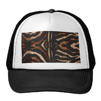 Wood and Leather Zebra Print Mesh Hats