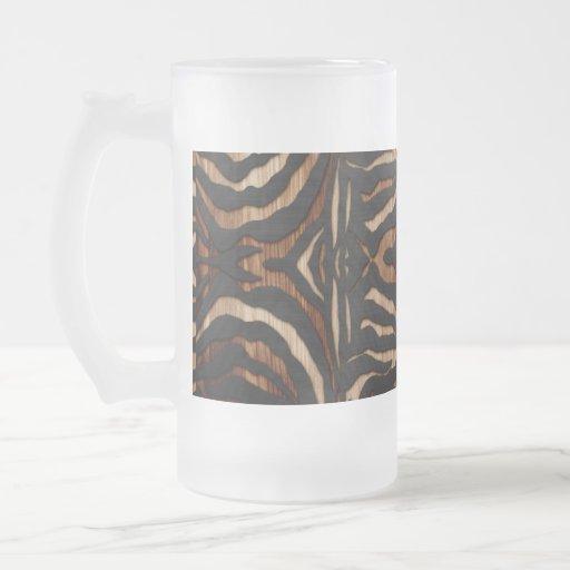 Wood and Leather Zebra Print Glass Beer Mug