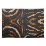 Wood and Leather Zebra Print Place Mat