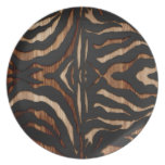 Wood and Leather Zebra Print Plate