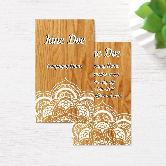 Wood and mandala business card zazzle wood and mandala business card reheart Image collections