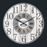 "Wood and Metal Faux Large Clock<br><div class=""desc"">Free your inner decorator! Wall clocks are an inexpensive and beautiful addition to any room. This cool wall clock has a faux whitewashed wood look, with a center circle that looks like metal. The numerals are in Roman and regular. This stunning wall clock would look great in a kitchen, bedroom,...</div>"