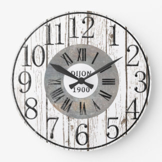 Wood and Metal Faux Large Clock