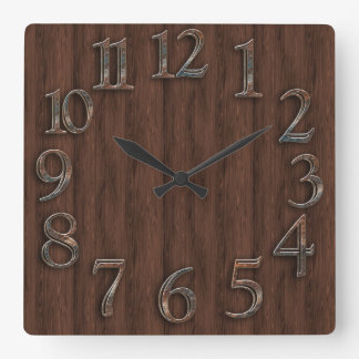 Wood and Metal Look Square Wall Clock