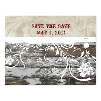 Wood and Parchment Save the Date Postcard