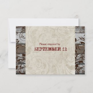 Wood and Parchment Swirl Brown RSVP with envelopes